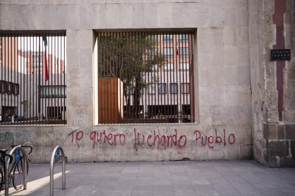 Jason Mena Martínez, Lights out for the territory, 2006/2012,80 color-slides of obscured ideological graffiti in the streets of Mexico City.