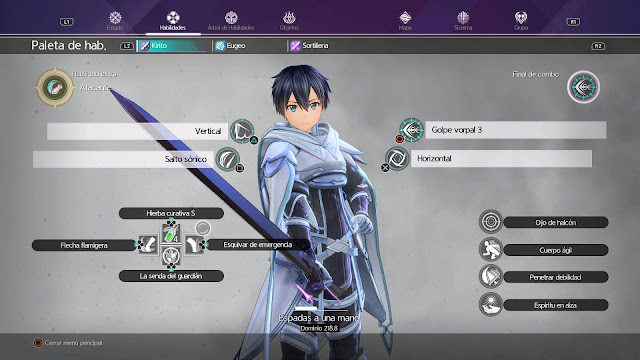 Kirito Menu de habilidades Sword Art Online Alicization Lycoris