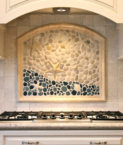 Coastal Kitchen Backsplash Ideas With Tiles From Beach