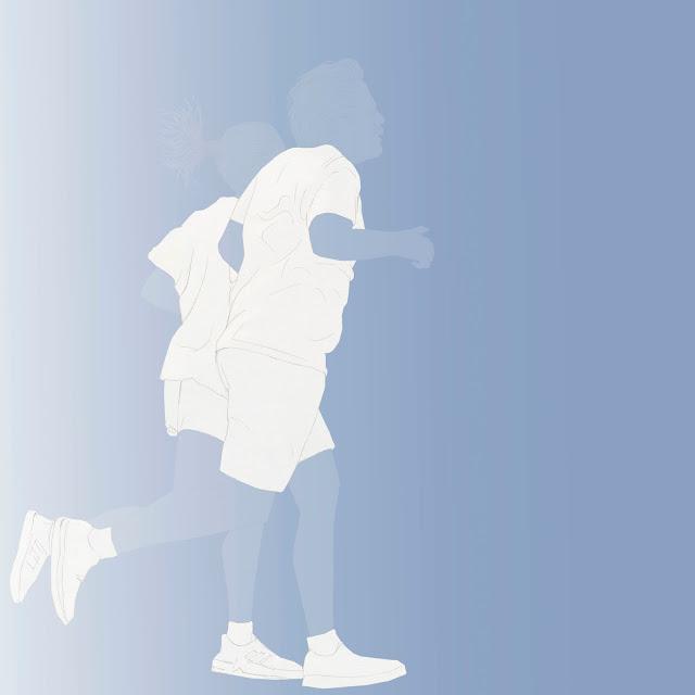 dibujo, pareja  , corriendo