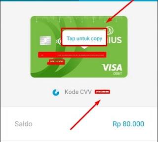 Informasi kartu kredit virtual