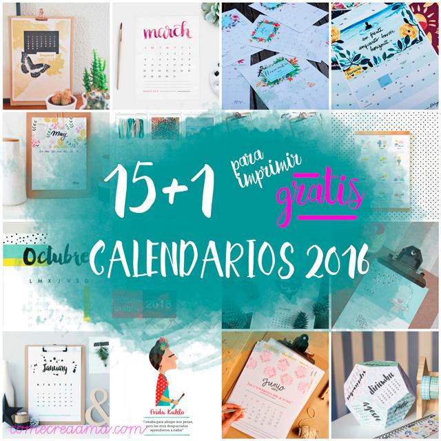 calendarios para imprimir del 2016