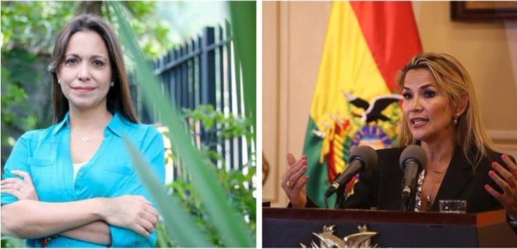 Tanto María Corina Machado como Jeanine Áñez. quienes fueron nominadas al premio Sájarov, han fijado duras posiciones ante la represión de los gobiernos de sus países / MONTAJE PANAM POST
