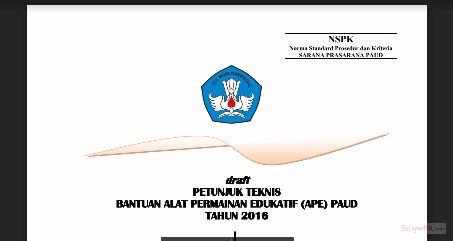 Juknis Bantuan Alat Permainan Edukatif (APE) PAUD 2016