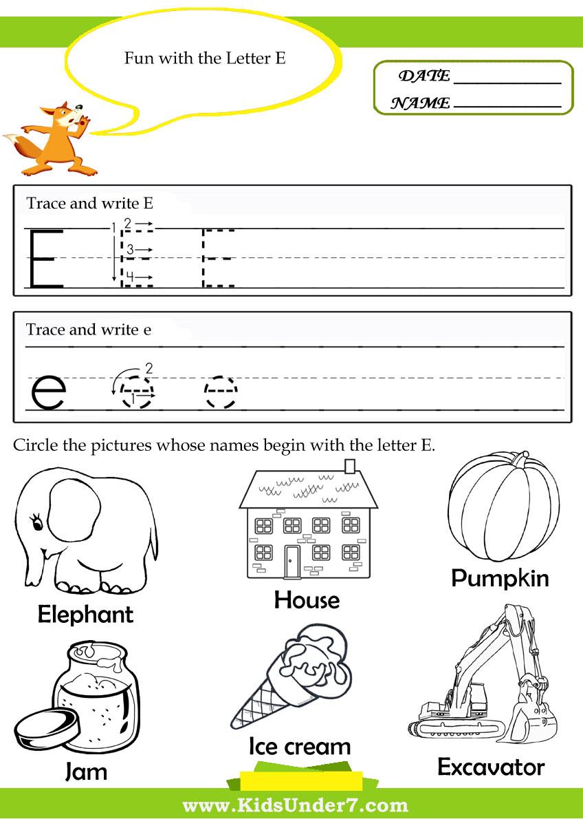 Workbooks letter e worksheets preschool : Kids Under 7: Alphabet