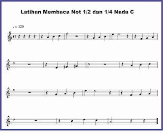 contoh nada c not 1/2 dan 1/4 pada not balok