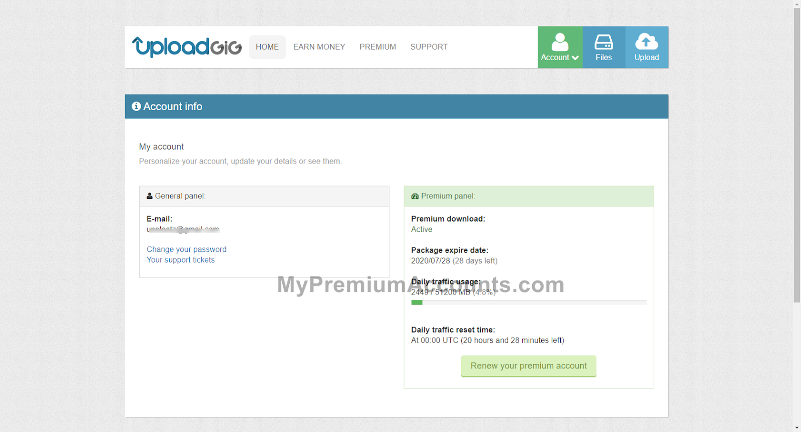 UploadGIG.com Premium Account June 30, 2020 till (28 Days Left)