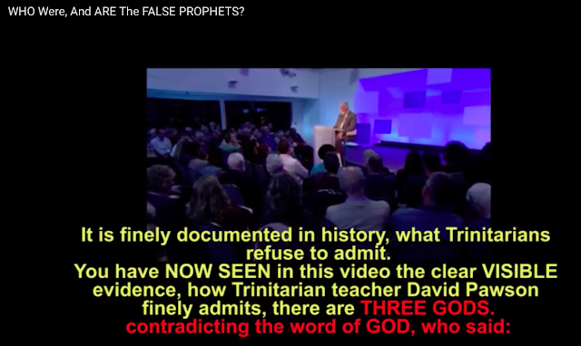 It is documented how Trinitarians like David Pawson admits they believe there are THREE GODS and not ONE.