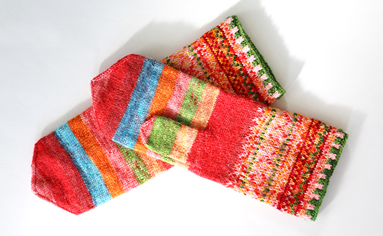 A Pair of Meida's Mittens Knit with Nontraditional Colors
