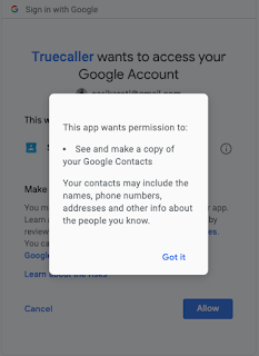 truecaller asking permissions to copy Google contacts