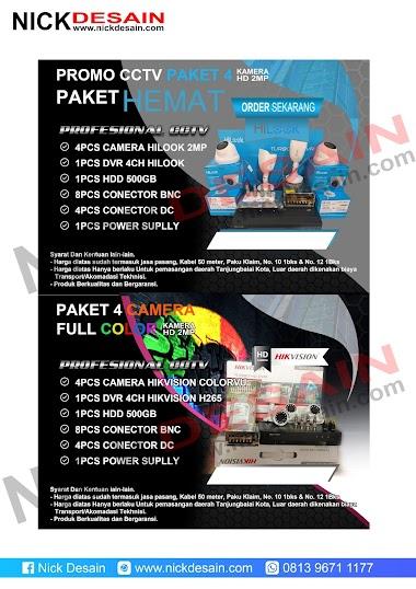 Contoh Desain Brosur CCTV warna merah dan Biru - Percetakan Murah Tanjungbalai