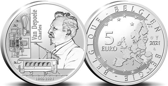 Belgium 5 euro 2021 - Charles Joseph Van Depoele