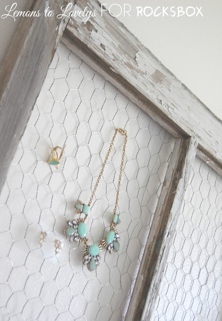 DIY jewelry holder made from an old window.  Tutorial on www.lemonstolovelys.blogspot.com