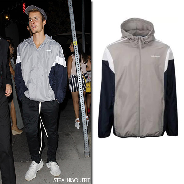Justin Bieber in grey Adidas jacket and black sweats mens fashion august 2017