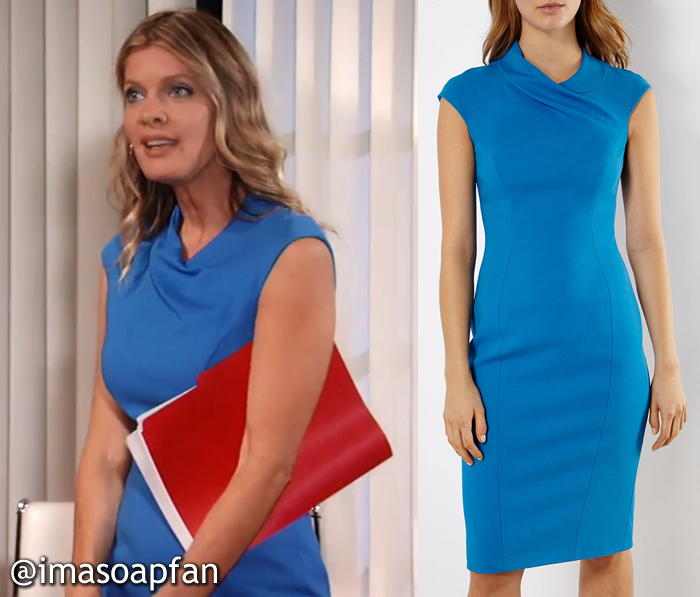 Nina Reeves, Michelle Stafford, Bright Blue Pencil Dress with Draped Neckline, Karen Millen, GH, General Hospital, Season 54, Episode 10/31/16