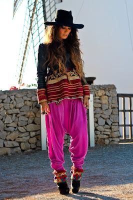 Pantalones bombachos hippies