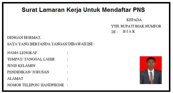 Download Surat Lamaran Kerja Untuk Melanjadi PNS 2019