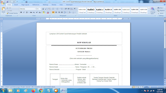 Contoh Format Terbaru Surat Keterangan Pindah Sekolah SD/SMP/SMA/SMK