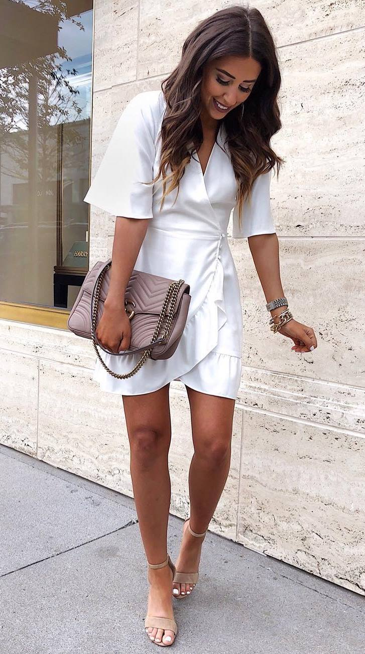 amazing summer outfit / white dress + bag + heels