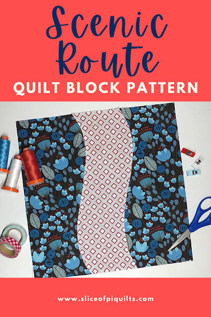 Scenic Route quilt block pattern using faux curved piecing