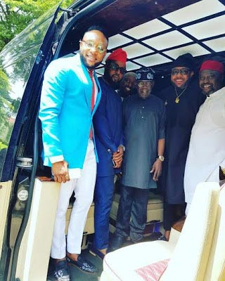 Photos: Tinubu hosts E-money and Kcee at his Lagos residence