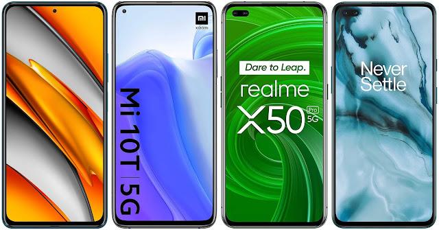 Xiaomi POCO F3 vs Xiaomi Mi 10T vs Realme X50 Pro vs OnePlus Nord