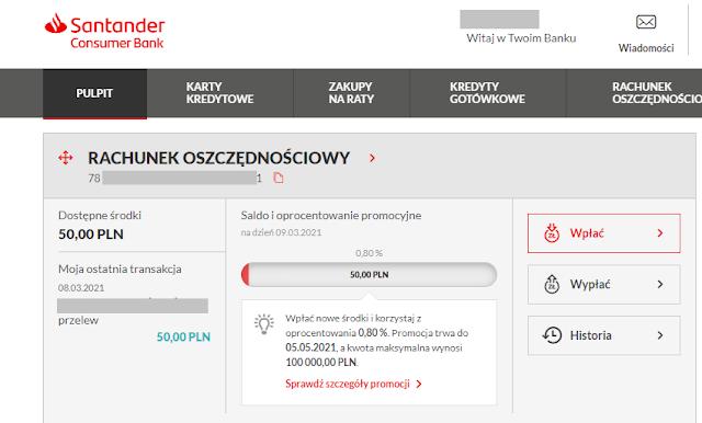 Informacja o wysokości promocyjnego oprocentowania na rachunku oszczędnościowym w Santander Consumer Banku