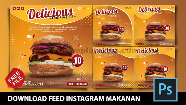 Desain Feed Instagram Jualan Makanan Keren Coreldraw Dan Photoshop