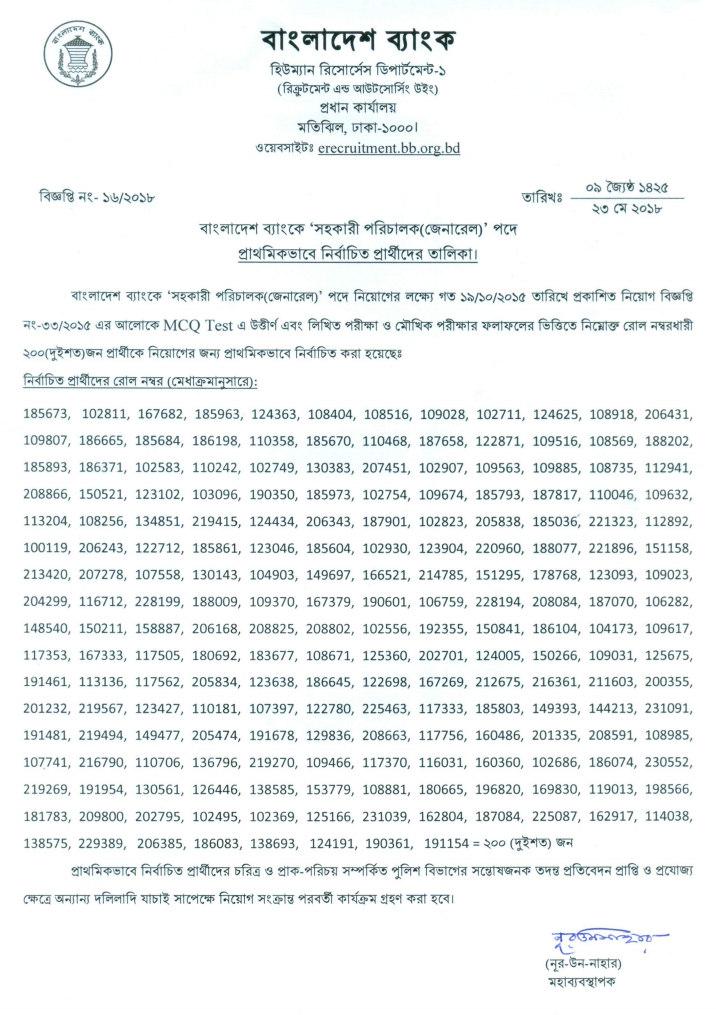 বাংলাদেশ ব্যাংক জব রেজাল্ট ২০১৮ বাংলাদেশ ব্যাংক এর নিয়োগ পরীক্ষার ফলাফল