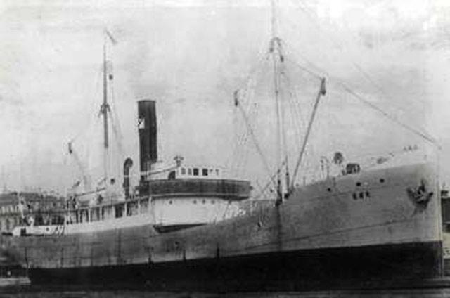 Norwegian/German freighter Bør, sunk by mine on 24 May 1942 worldwartwo.filminspector.com