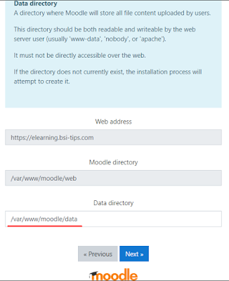Data directory moodle 3.9