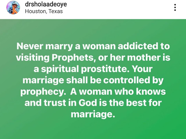 Never marry a woman addicted to visiting prophets or whose mother is a spiritual prostitute - Nigerian clergyman warns men