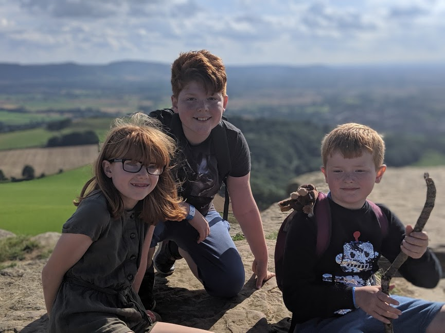 Climbing Roseberry Topping with Kids -  kids at the top