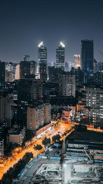 Metropolis, City, Night, Buildings, Lights