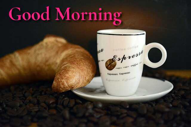 beautiful Good Morrning image with tea cup and ginger