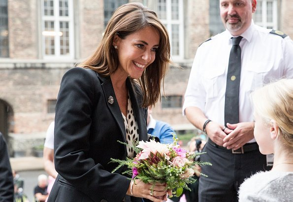 Princess Marie wore Dkny Donna Karan belted silk dress and Jimmy Choo pumps at opening of Better Food