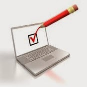 Illustration of a laptop computer with a red pencil marking a box with a checkmark, symbolizing taking a survey