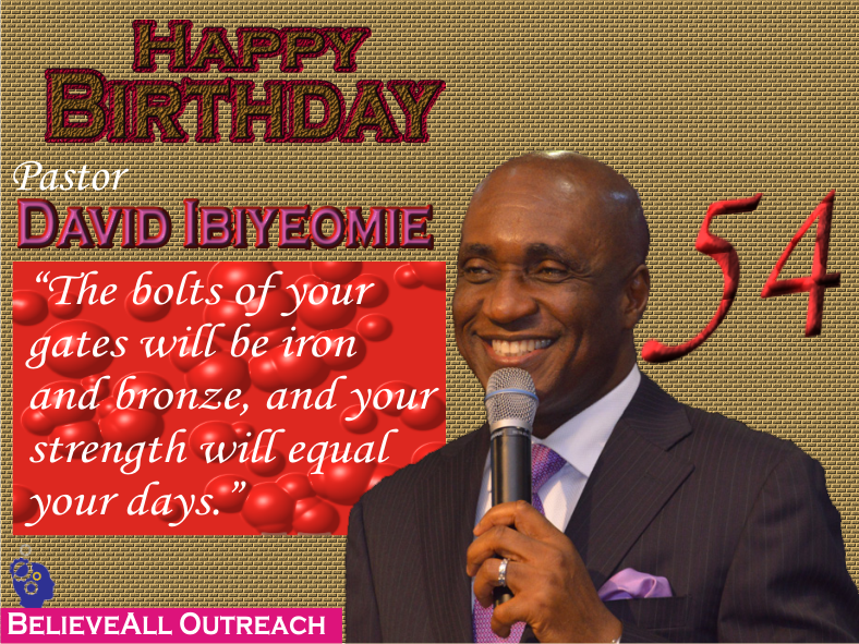 The world only celebrate success, no one can celebrate failure.  Pastor David Ibiyeomie is the presiding Pastor and founder of Salvation Ministries (Home Of Success), with its headquarter in Port Harcourt. His practical approach to the Word made him to be admired by many people who come under his teaching. Born on October 21, 1962 in Bonny Island, Rivers State. His parents were indigenes of bolo Town in Ogu/Bolo local government Area of Rivers State, Nigeria. After completing his Bible School training at Bishop David Oyedepo's Word of Faith Bible Institute (WOBI), started a house fellowship with his family at 1689B Buraima Kenku Street, Victoria Island, Lagos, Nigeria. He later relocated to Port Harcourt, Rivers State, where he started Salvation Ministries (Glorious Chapel) on April 13, 1997 at Plot 35 Birabi street, G.R.A. phase 1 Port Harcourt with a little over twenty members in attendance including him and his lovely wife, Peace Ibiyeomie. In July 1997, the church relocated to from 35 Birabi to the present site, Plot 17 Birabi Street in G.R.A. Port Harcourt. Presently, the church boosts of over 50,000 worshipers every Sunday only at the church headquarter. The church also has numerous branches all over Nigeria, United State of America, etc. His dynamism and approach made his church to be one of the fastest growing churches in the world. The church services can be watch live through the church online portal www.smhos.org/ . Today the church and his admirers all over the world celebrate the dynamic and charismatic preacher with a vision directed by God and motivated to carry on the will of the heavenly father to build heavenly minded people. Happy Birthday my mentor and motivator! I Love You My Papa. #HappyBirthdayDavidIbiyeomie (Please let us use this hashtag to celebrate him)     Pastor David Ibiyeomie is the presiding Pastor and founder of Salvation Ministries (Home Of Success), with its headquarter in Port Harcourt. His practical approach to the Word made him to be admired by many people who come under his teaching.   Born on October 21, 1962 in Bonny Island, Rivers State. His parents were indigenes of bolo Town in Ogu/Bolo local government Area of Rivers State, Nigeria.     After completing his Bible School training at Bishop David Oyedepo's Word of Faith Bible Institute (WOBI), started a house fellowship with his family at 1689B Buraima Kenku Street, Victoria Island, Lagos, Nigeria. He later relocated to Port Harcourt, Rivers State, where he started Salvation Ministries (Glorious Chapel) on April 13, 1997 at Plot 35 Birabi street, G.R.A. phase 1 Port Harcourt with a little over twenty members in attendance including him and his lovely wife, Peace Ibiyeomie.   In July 1997, the church relocated from 35 Birabi to the present site, Plot 17 Birabi Street in G.R.A. Port Harcourt.  Presently, the church boosts of over 50,000 worshipers every Sunday only at the church headquarter. The church also has numerous branches all over Nigeria, United State of America, etc.  His dynamism and approach made his church to be one of the fastest growing churches in the world.   The church services can be watch live through the church online portal www.smhos.org/ .   Today the church and his admirers all over the world celebrate the dynamic and charismatic preacher with a vision directed by God and motivated to carry on the will of the heavenly Father to build heavenly minded people.   Happy Birthday my mentor and motivator!  I Love You My Papa.  #HBDPapa
