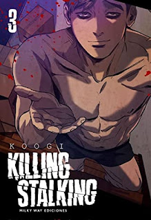 "Shirtless korean anime guy with blonde undercut style of hair asking for something with text ""3"" and ""Koogi Killing Stalking"""