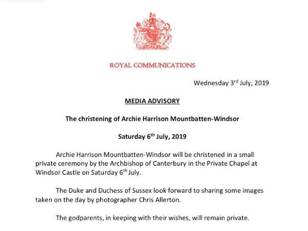 Chrzest Archie'go Harrisona w Windsorze już w tę sobotę!
