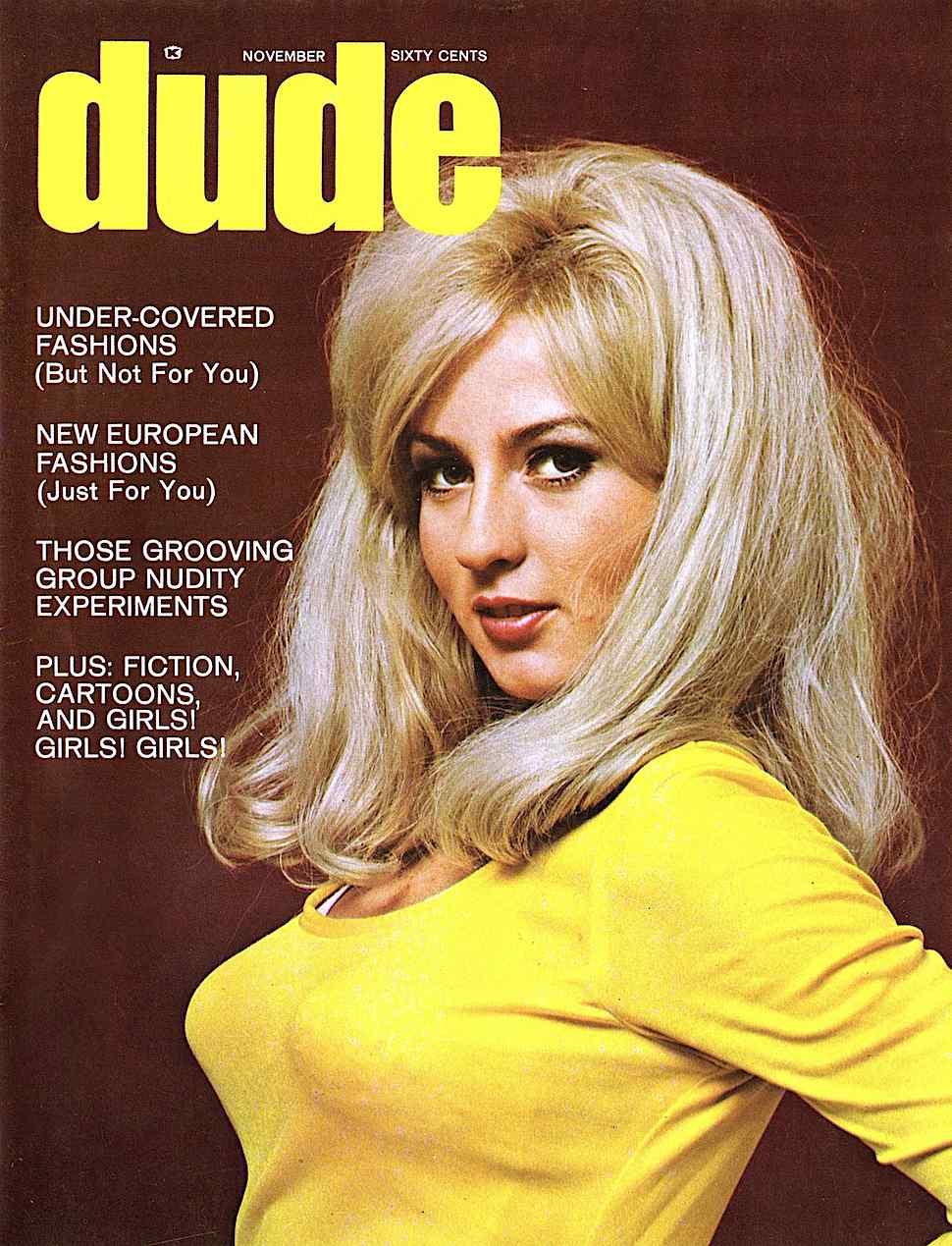 Dude Magazine November 1968, a sexy woman in yellow