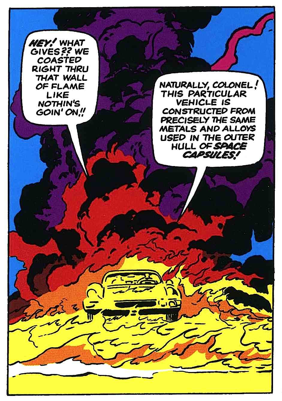 a Jack Kirby story panel for Nick Fury, two men calmly talking in a burning car