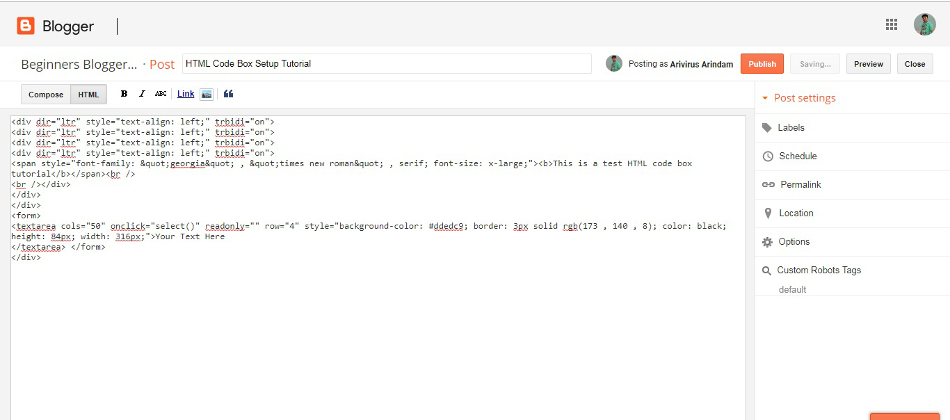 Creating A Html  Javascript Code Box Inside Your Blog Post
