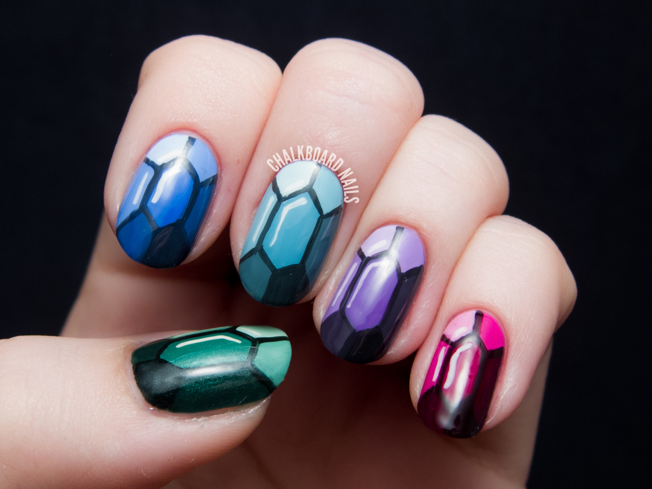 Precious Gems Nail Art Tutorial by @chalkboardnails