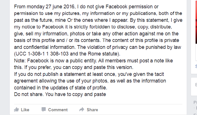 Facebook privacy rumor