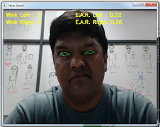 Wink Detection Running with Dlib and OpenCV