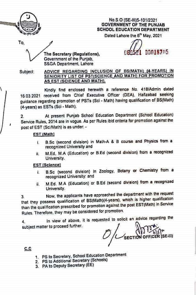INCLUSION OF BS (MATH) FOR SENIORITY LIST OF PST(SCEINCE / MATH) FOR PROMOTION AS EST (SCIENCE/MATH)