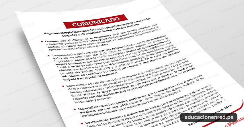 COMUNICADO MINEDU: Negamos categóricamente información propalada respecto a contenidos sesgados en la impresión de nuevos textos escolares - www.minedu.gob.pe
