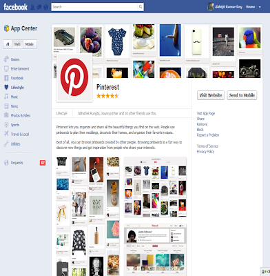 Pinterest in Facebook Appcenter