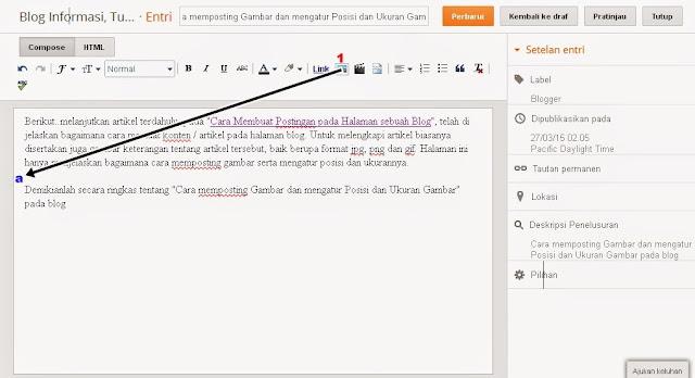 Cara mengatur gambar Posting pada halaman blog